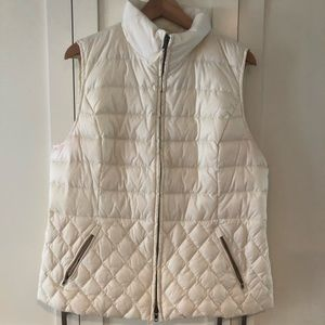 Talbots Cream Down Quilted Puffer Vest